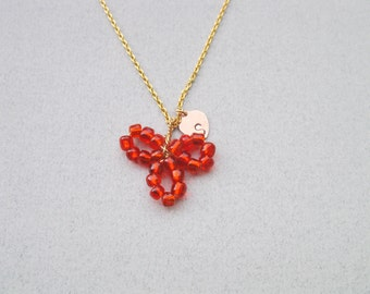 Flower necklace, Initial necklace, Flower girl necklace, Baby girl necklace, Red flower necklace, Blue bead necklace, by Sara Gal.