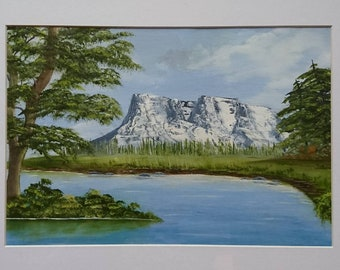 Oil painting, mountain and lake view, landscape painting.