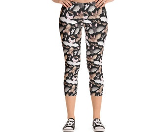 Batty For Bats! Capri Leggings- Black