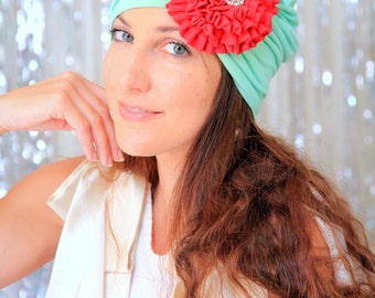 Flower Turban - Tropical Christmas Headwrap with Flower - Mint Green and Cherry Red Women's Fashion Hair Wrap