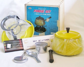 1960s Fondue Set, Yellow Enameled Aluminum Fondue Pot and Accessories in Original Box plus 4 Fondue Forks in Package.
