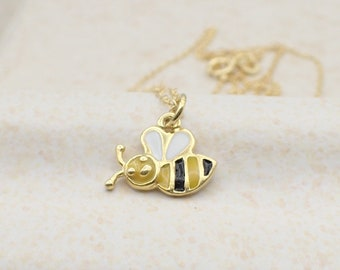 Honey Bee Necklace Gold Plated Sterling Silver Insect Charm Pendant Dainty Cable Chain Bumble Bee