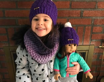 Crochet cable hat...matching girls and 18 inch doll