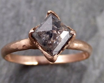 Fancy cut Salt and pepper Solitaire Diamond Engagement 14k Rose Gold Wedding Ring byAngeline 1085