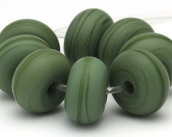 Handmade Lampwork Spacer Beads Matte Olive Green SRA