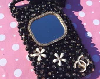 Bling cell phone case Iphone 7 decoden kawaii cute black mirror gold