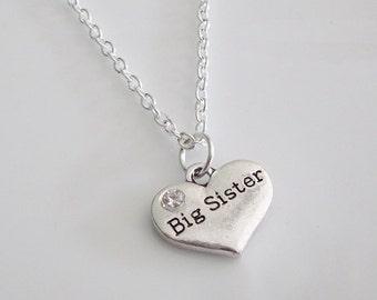 Big Sister Necklace, Big Sis necklace, Big Sister gifts, Big Sister jewelry, Big sister birthday,  Personalized Necklace, Silver necklace