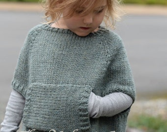 Knitting Pattern - Odila Cape Pullover (2/3, 4/5, 6/7, 8/9, 10/11, 12/14, Small, Medium, Large sizes)