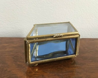 Blue Glass Box / Glass and Brass Box / Diamond Shaped Box / Something Blue / Vintage Blue Box / Trinket Box / Ring Box