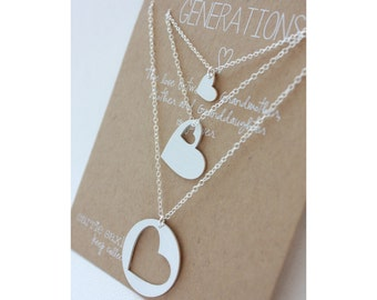 Generations necklace set - Grandma - necklace gift - Mother's Day gift set - grandmother mother daughter - wedding gift - mother gift - Mom