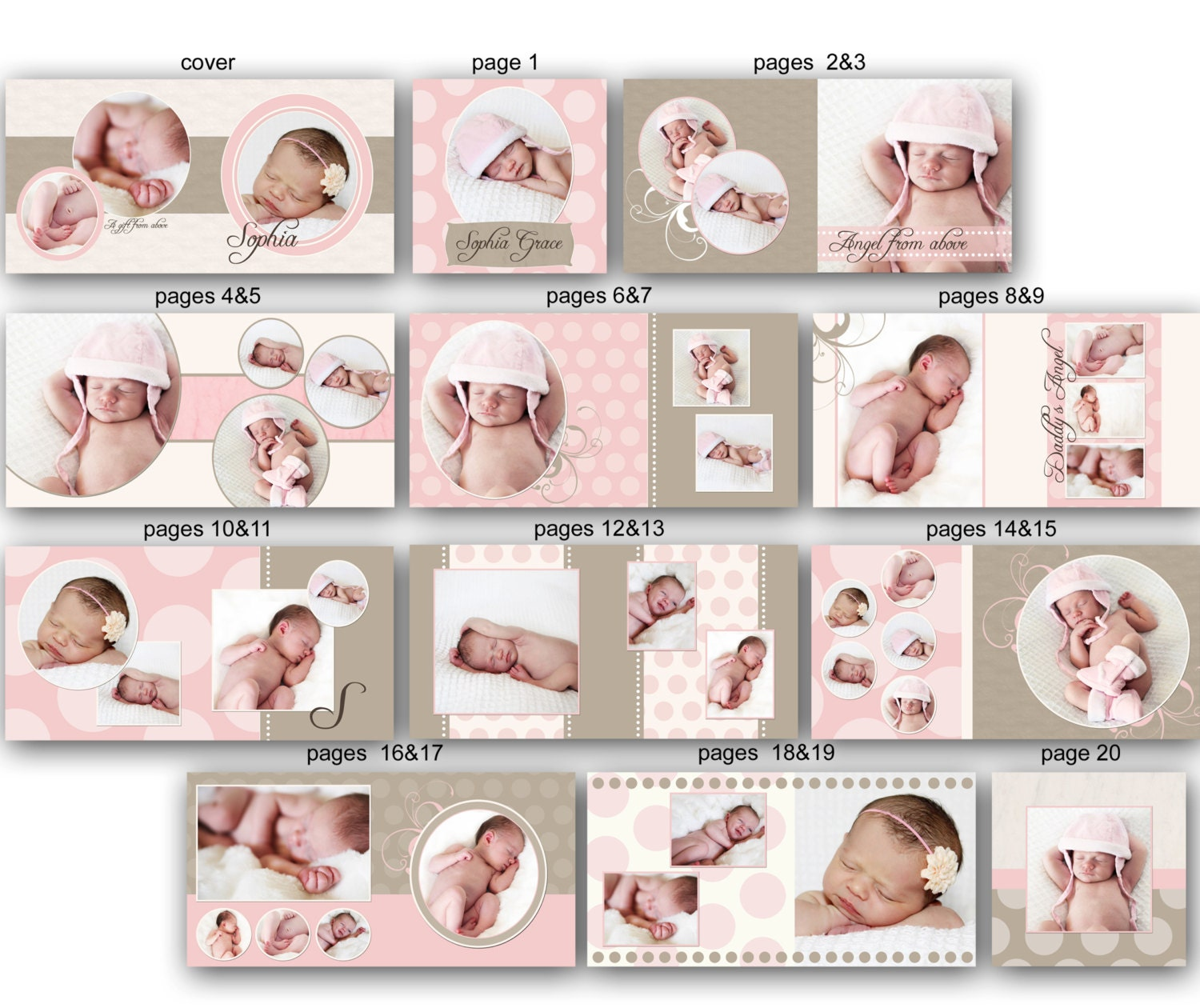 instant download 10x10 baby album template sophia 0349