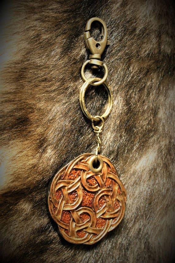 Celtic embossed leather key fob luggage bag charm