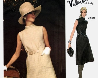 ON SALE Vintage 1970s MOD A Line Dress with Belt Carriers Vogue Couturier Design 2439 Designer Valentino of Italy Sewing Pattern Sz 12 Bust