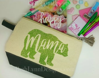 Mama Bear Cosmetic Bag with GLITTER! Slate Gray Bag and Tassel with Grasshopper Green Glitter!