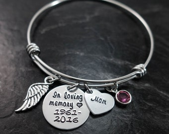 Charm Bracelet / Wire Bangle / In Loving Memory Bangle / Loss of a loved one / Remembrance Bracelet / Hand Stamped Wire Bangle Bracelet
