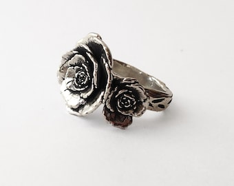 Silver Rose Ring - handmade - designed and cast in my Austin Tx Studio - solid Sterling Silver - plant jewelry - made by Jamie Spinello