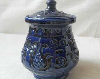 20%Off Vintage Lidded glazed ceramic hungarian jar colbalt blue tarditional floral folk motif