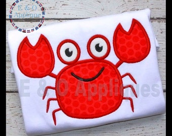 Crab Applique Design - Crab Embroidery Design - Summer Applique Design - Beach Applique - Beach Embroidery Design - Machine Embroidery