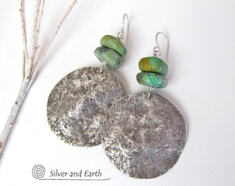 Sterling Silver Turquoise Earrings, Big Oxidized Silver Earrings Handmade, Earthy Organic Silver Jewelry, Natural Turquoise Earrings