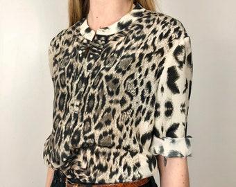 Gerard Darel silk blouse / shirt / leopard print / shirt in light silk / garment Gerard Darel
