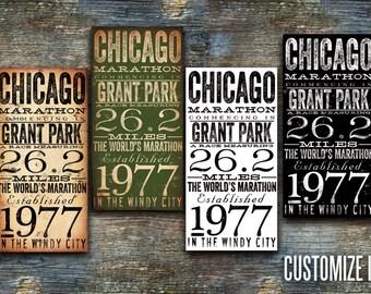 Chicago Marathon typography artwork by stephen fowler gallery wrap canvas