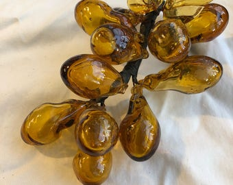 2 Vintage glass amber grape clusters