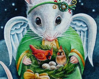 Christmas Angel Mouse Cardinal Birds Limited Edition ACEO Giclee Print reproduced from the Original Watercolor