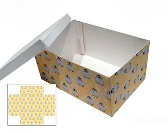 6x4x4 inch Printable Gift Box Template - Cute Kawaii Penguin - Digital Download Party Supplies