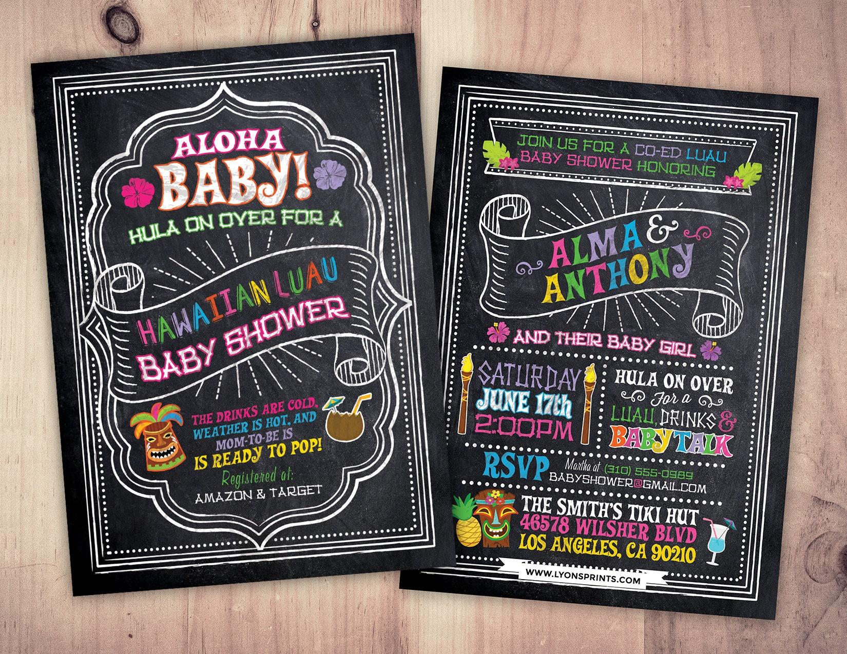 Aloha Baby Shower Invitation, Luau Baby Shower Invitation, Pineapple ...