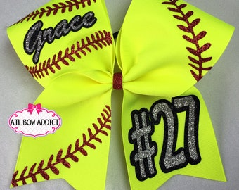 Softball Bow - Customized with your team/name and number  ORIGINAL
