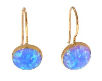 Blue Opal Earrings, Gemstone Earrings, Opal Jewelry, 14K Gold Earrings, Gold Drop Earrings, October Birthstone, Gold Dangle Earrings,