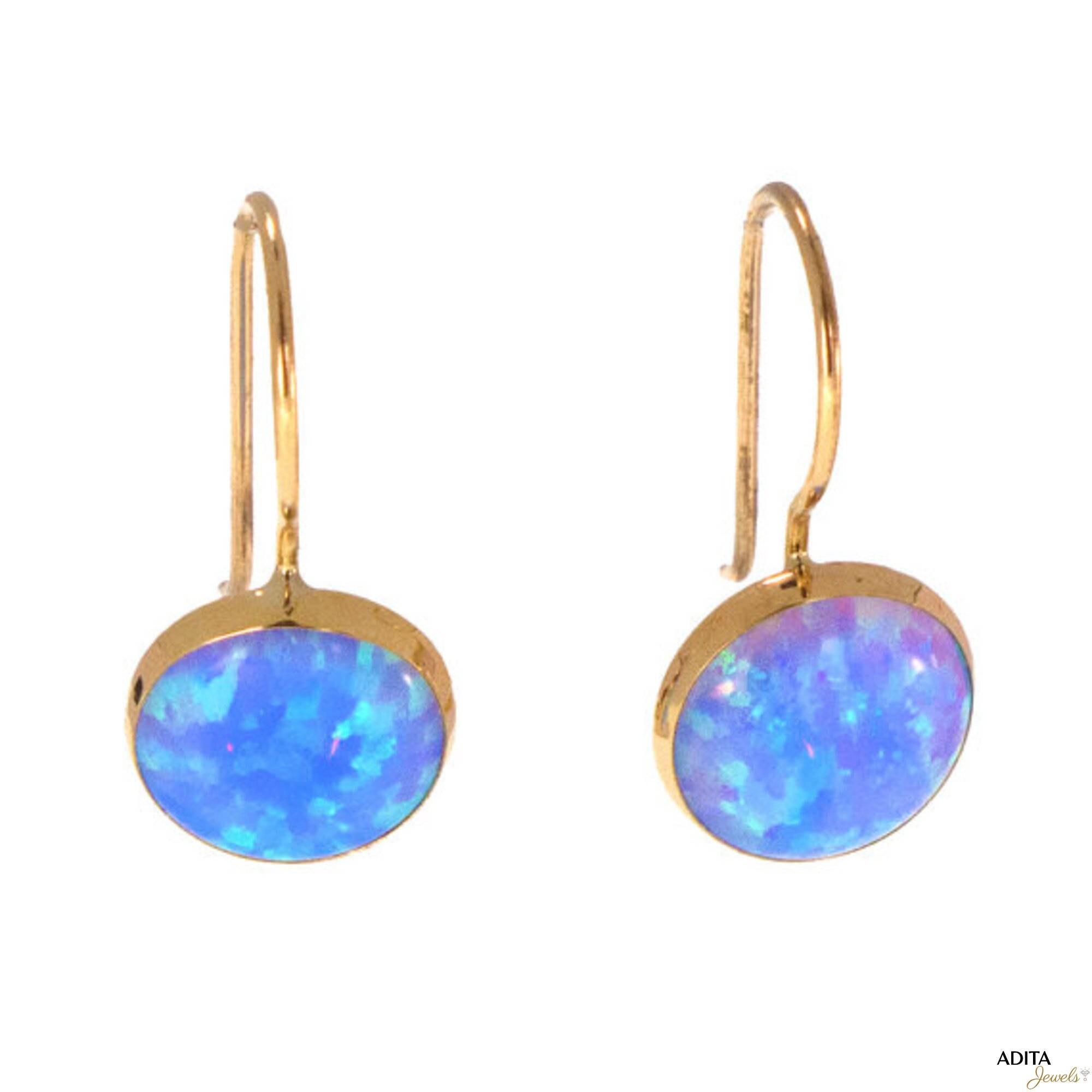 blue opal earrings gemstone earrings opal jewelry 14k gold. Black Bedroom Furniture Sets. Home Design Ideas