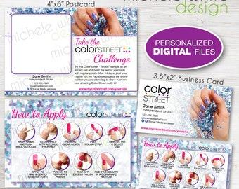Color Street Marketing Bundle, Business Card & Twosie Postcard, Application Instructions, Mardi Gras - Personalized PRINTABLE Digital File