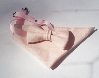 Pink petals hopsack bow tie and pocket square