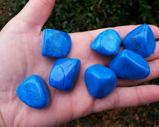 Blue Howlite ~ 1 large Reiki Infused Tumbled Stone approx 1 inch