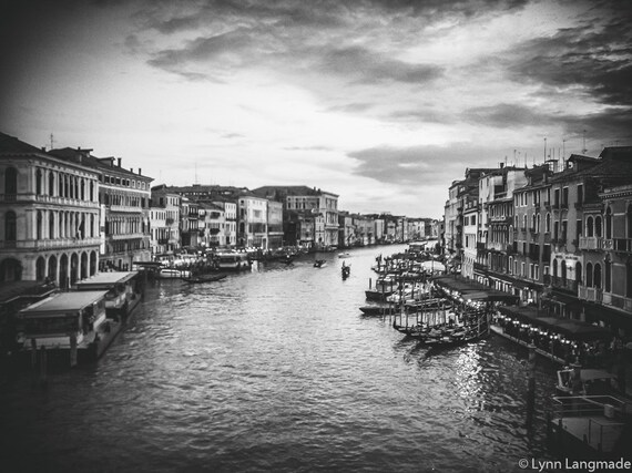 Venice photography black white venice print grand canal