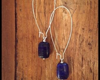 Silver Drop Earrings, Lapis Lazuli, Lapis Lazuli Earrings, Lapis Drop Earrings, Lapis Lazuli Silver Earrings, Bohemian Earrings