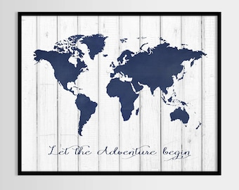 Let the adventure begin marine world map print rustic print let the adventure begin marine world map print rustic print wall decor gumiabroncs Image collections