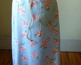 Long Blue Skirt, Handmade Skirt, Unique Clothing, Recycled Fabrics, Drawstring Waist, Flowered Skirt, Spring Summer Skirt, Hippie Boho Skirt