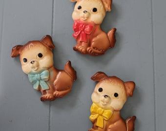 Three Vintage Puppy Wall Ceramics