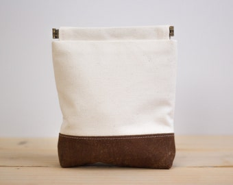 Charger case, Cosmetic pouch, Ditty bag, Make-up Case, Travel pouch, Mouse case / Cream and Brown