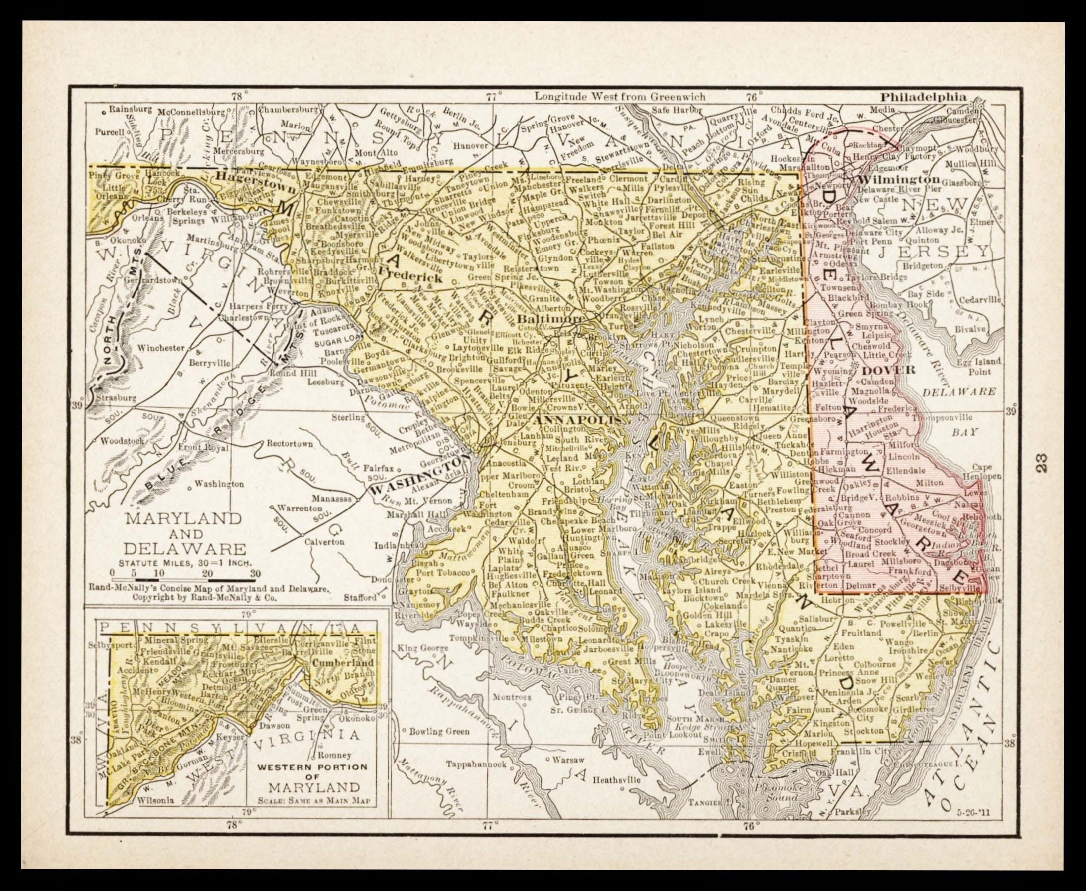 Small Maryland Map Delaware Map Vintage Wall Decor 1900s