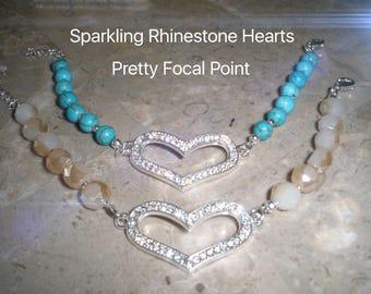 Sweetheart Bracelets, Valentines Day Gift, Gift for Wife, Gift for Girlfriend, Rhinestone Heart Bracelet, Turquoise Bracelet, SW Style