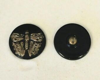 """Czech Glass Butterfly Button - 7/8"""" - 2 for 2.00 - #892"""