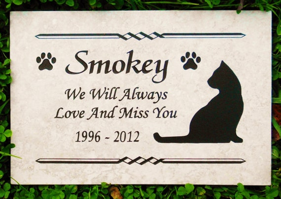 "Cat Memorial plaque. Maintenance Free 12""x8""x3/8"" Weathered Italian Porcelain Stone Tile."