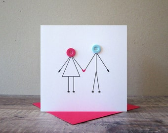 Button Couple Holding Hands Card -  Valentines Card - Button People Cards- I Love You Card - Fun Love Card