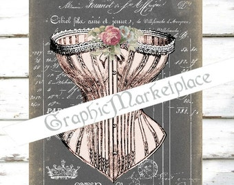 Chalkboard Corset French Lingerie Shabby Chic Transfer Instant download digital collage sheet printable graphic No. 512