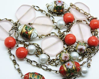 Vintage Art Deco Pink Peking Glass Cloissone Bead Chinese NECKLACE