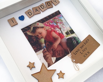 Daddy Photo Frame- I Love Daddy- Scrabble Frame- Personalised Frame- Photo Printing- Fathers Day Gift- Daddy Gift- First Fathers Day Gift