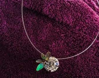 "Cable, Rhinestones, and fairy wings ""ORB in fairies"" necklace"